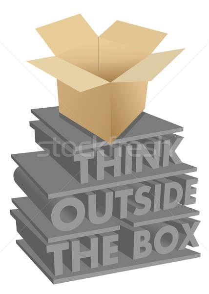 think outside the box 3d concept illustration design Stock photo © alexmillos