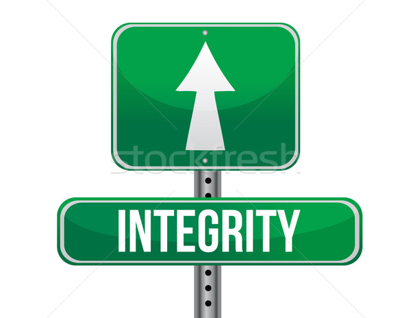 Integrity road sign isolated on a white background. Stock photo © alexmillos