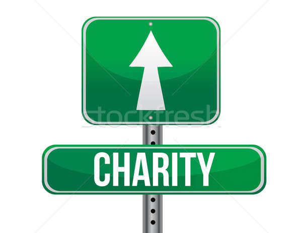 Charity road sign illustration design over a white background Stock photo © alexmillos