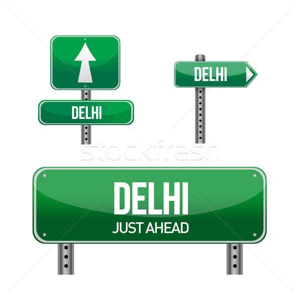 Delhi ville panneau routier illustration design blanche Photo stock © alexmillos