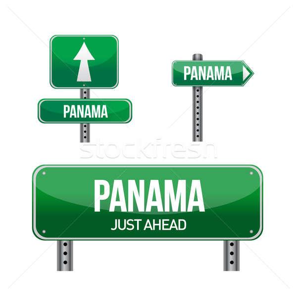 Panama teken illustratie ontwerp witte Stockfoto © alexmillos