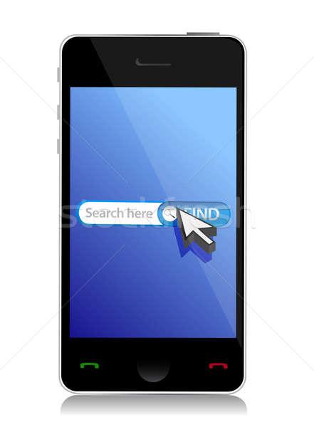 smart phone internet web search illustration design over white Stock photo © alexmillos