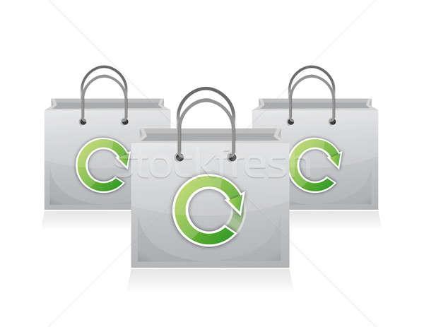 Stockfoto: Ingesteld · zakken · winkelen · recycling · symbool · illustratie