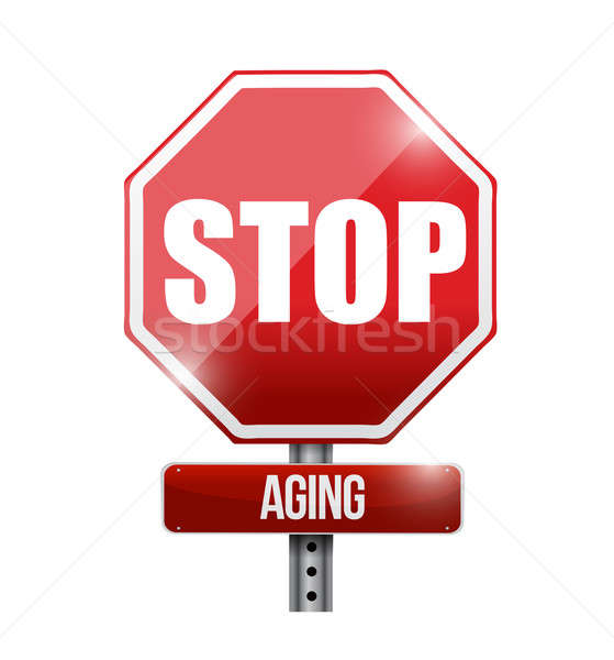 stop aging road sign illustration design over a white background Stock photo © alexmillos