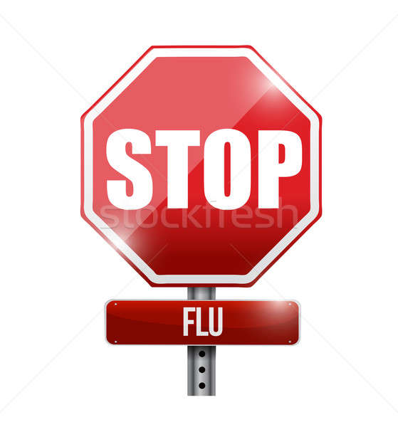 stop flu road sign illustration design over a white background Stock photo © alexmillos