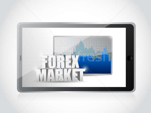 tablet and forex market graph illustration design over a white b Stock photo © alexmillos