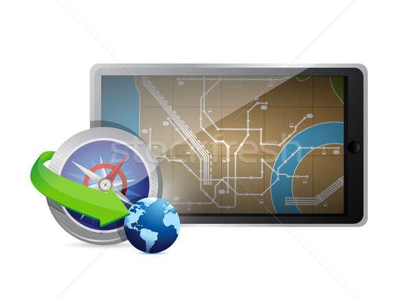 Keres uticél illusztráció technológia terv fehér Stock fotó © alexmillos