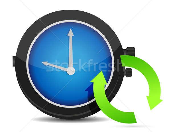 Refresh icon on a blue watch illustration design Stock photo © alexmillos