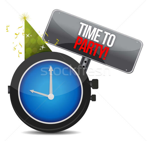White clock with words Time to Party illustration design over wh Stock photo © alexmillos