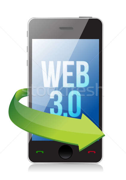 word Web 3.0 on a cell phone, seo concept illustration design Stock photo © alexmillos