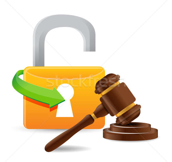 unlock and gavel illustration design over a white background Stock photo © alexmillos