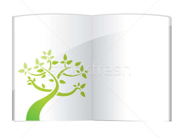 Planta crescente livro aberto ilustração projeto branco Foto stock © alexmillos
