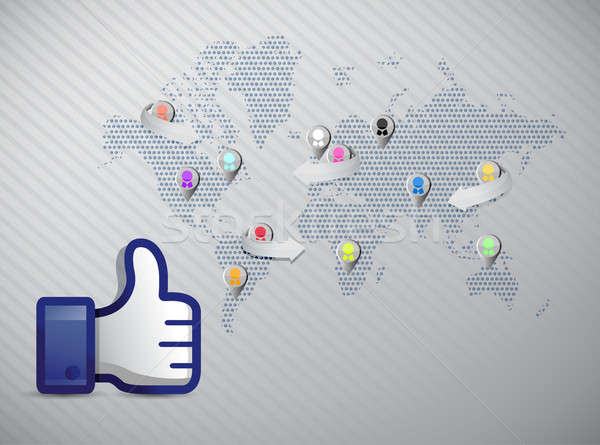 Sosyal medya ağ başparmak yukarı örnek dizayn Stok fotoğraf © alexmillos