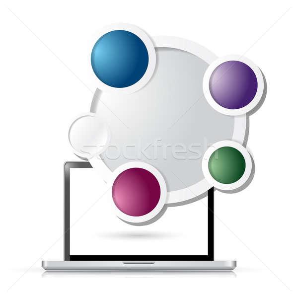 Computer cirkel business sjabloon illustratie ontwerp Stockfoto © alexmillos