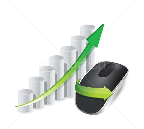 üzleti grafikon drótnélküli számítógép egér izolált fehér számítógép Stock fotó © alexmillos