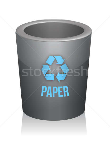 paper recycle trashcan illustration design over white Stock photo © alexmillos