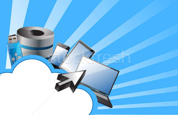 cloud computing concept illustration design over a white backgro Stock photo © alexmillos