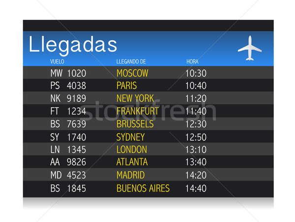 Nemzetközi tábla panel spanyol fém repülőtér Stock fotó © alexmillos