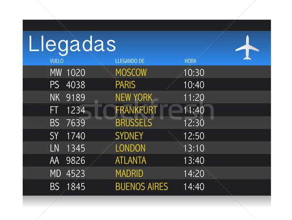 International arrivals board panel in Spanish  Stock photo © alexmillos