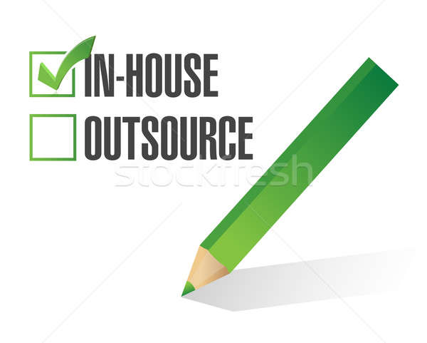 In-house outsource check mark illustration design Stock photo © alexmillos