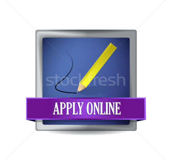 Apply online glossy blue reflected square button Stock photo © alexmillos