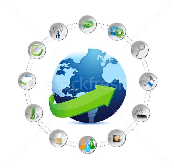 international globe and tools settings illustration design over  Stock photo © alexmillos