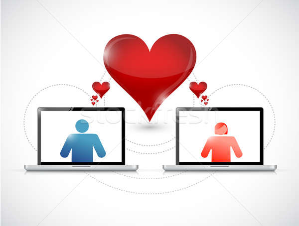Laptop. online dating graphic concept Stock photo © alexmillos