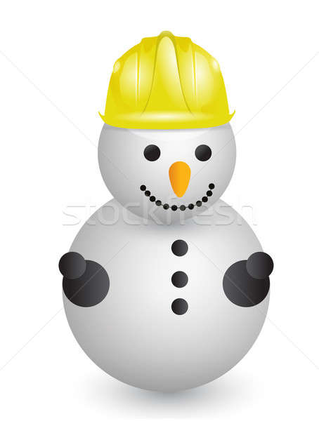 Snowman with construction helmet  Stock photo © alexmillos