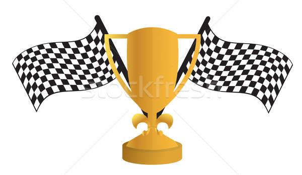 Złoty trofeum flagi metal prędkości złota Zdjęcia stock © alexmillos