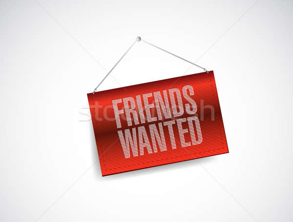 Friends wanted hanging banner sign  Stock photo © alexmillos