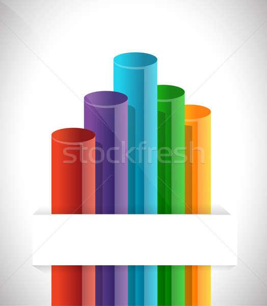 Oszlopdiagram diagram illusztráció terv fehér kék Stock fotó © alexmillos