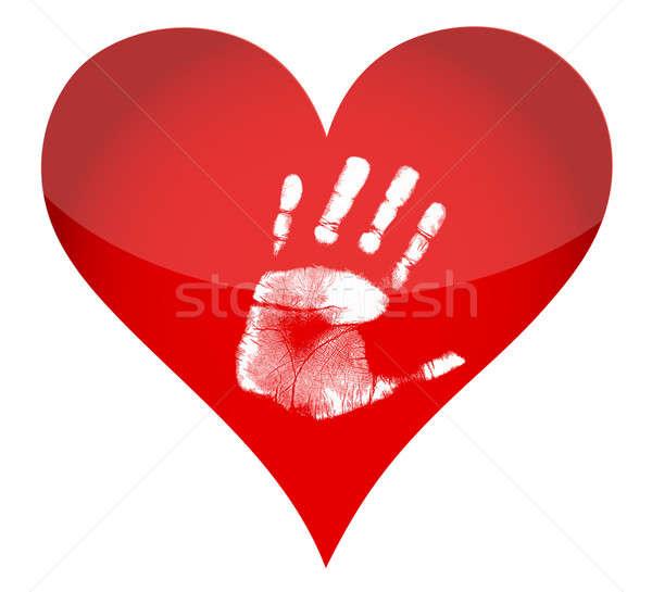 Heart and handprint illustration  Stock photo © alexmillos