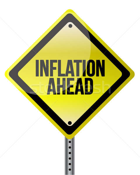 инфляция впереди знак деньги дороги шоссе Сток-фото © alexmillos