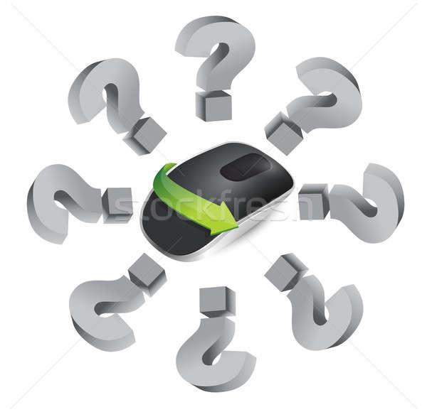 Sorular kablosuz bilgisayar fare yalıtılmış beyaz bilgisayar Stok fotoğraf © alexmillos
