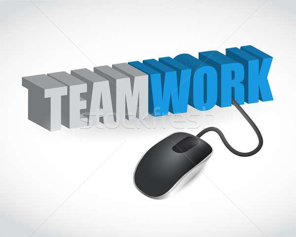 Teamwerk teken muis illustratie ontwerp witte Stockfoto © alexmillos