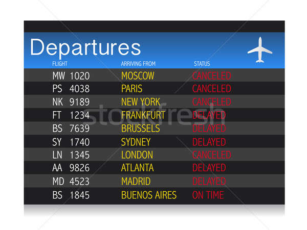 Airport crisis departure table - delayed and cancelled flights Stock photo © alexmillos