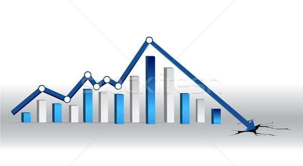 Blue crisis chart illustration design Stock photo © alexmillos
