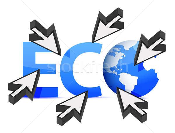 Mot eco monde curseur illustration design Photo stock © alexmillos