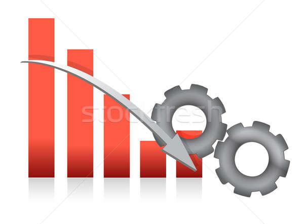 Caer gráfico de barras producción ilustración diseno blanco Foto stock © alexmillos