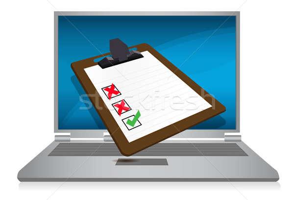 Stock fotó: Laptop · kirakat · felmérés · vágólap · illusztráció · számítógép