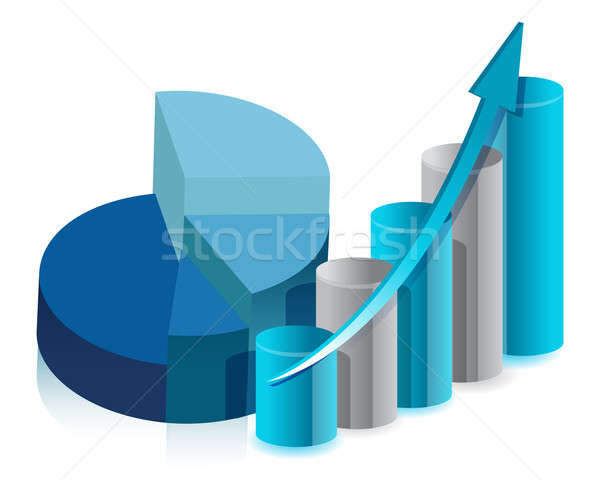 pie chart and bar graph illustration design on white Stock photo © alexmillos