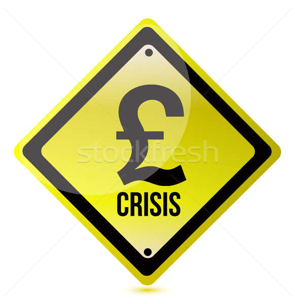 желтый фунт кризис знак иллюстрация дизайна Сток-фото © alexmillos
