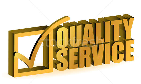 golden Quality Service Certificate sign symbol on white backgrou Stock photo © alexmillos