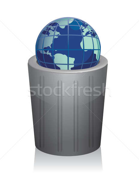 trashcan with earth inside isolated on white background. Stock photo © alexmillos
