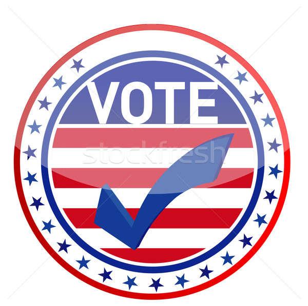 Egyesült Államok Amerika választások piros gomb címke Stock fotó © alexmillos