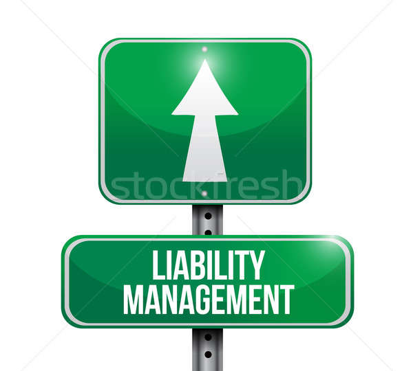 liability management road sign illustrations design over white Stock photo © alexmillos