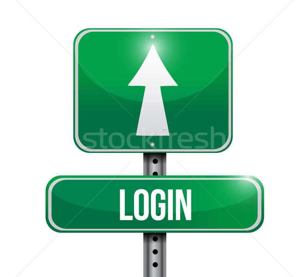 login road sign illustration design over a white background Stock photo © alexmillos