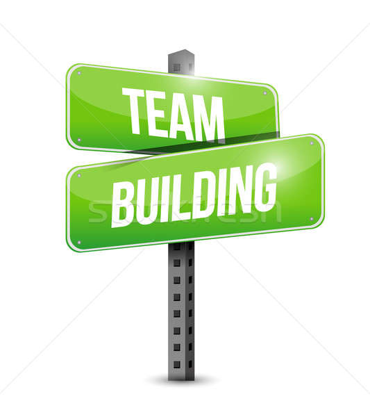 team building road sign illustration design over a white backgro Stock photo © alexmillos