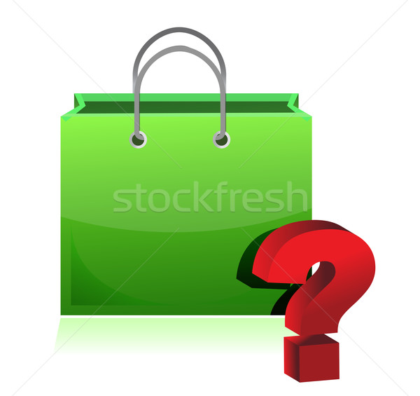 shopping bag and question mark illustration design over white Stock photo © alexmillos