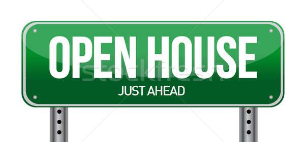 ストックフォト: オープン · 家 · 道路標識 · 実例 · 白 · ビジネス